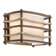 Moxie Wall Light in Cambridge Bronze with a Linen Shade and Glass Diffuser - KICHLER KL/MOXIE2